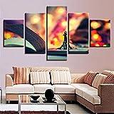 mhhfay Malerei Auf Leinwand Dekoration Poster Rahmen 5 Panel Buchturm Für Wohnzimmer Wandkunst HD Gedruckt Moderne Bilder Trendig