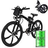 Bunao Elektrofahrräder 36V 8AH Lithium Batterie Faltrad MTB Mountainbike E-Bike 17 * 26 Zoll Shimano 21 Speed Fahrrad Intelligence Elektrofahrrad (Schwarz1)