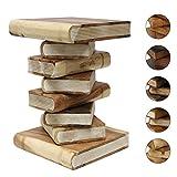 Bücherhocker Nachttisch Beistelltisch Hocker Podest Deko Buch Stapel 50 cm Holz Shabby Chic Akazie Natur Creme