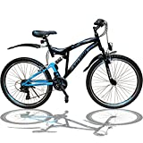 26 ZOLL MOUNTAINBIKE FAHRRAD MIT VOLLFEDERUNG & BELEUCHTUNG 21-GANG SHIMANO OXT BLACK