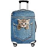 GWELL 3D Tier Cartoon Elastisch Kofferhülle Kofferschutzhülle Luggage Cover mit Reißverschluss Reisekoffer Kofferbezug Gepäck Cover Abdeckung Katze-1 XL für 29-32 Zoll