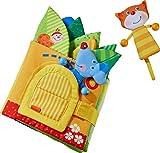 HABA 304129 - Blätterhäuschen, Stoffbuch ab 10 Monaten mit Reimen und vielen Spielelementen, inklusive Katze und Maus als Fingerfiguren, ideal als Babygeschenk