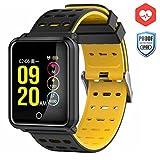 CanMixs Smart Watch CM05 mit Pulsmesser, wasserdichte IP68 Smartwatch, Fitness Tracker mit Stoppuhr, Schlaf Monitor, Schrittzähler, Kalorienzähler, Musik-Fernbedienung, Bluetooth Activity Armband für Android und IOS(Schwarz)
