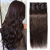 TESS Clip in Extensions Echthaar Dunkelbraun #2 Remy Haar Extensions guenstig Haarverlängerung 18 Clips 8 Tressen Lang Glatt, 16'(40cm)-65g