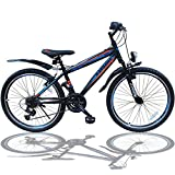 24 ZOLL MOUNTAINBIKE FAHRRAD MIT GABELFEDERUNG & BELEUCHTUNG 21-GANG SHIMANO FASTER BBO