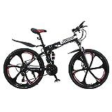 26 Zoll Aluminium Mountainbike Für Männer Und Frauen Mit Vorne Und Hinten Scheibenbremse (Schwarz)
