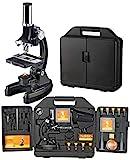 National Geographic Einsteiger Mikroskop 300-1200x mit batteriebetriebener Beleuchtung, umfangreichem Zubehör, leicht verständlicher Anleitung und praktischem Transportkoffer, schwarz