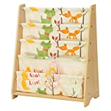 SONGMICS Kinderregal kleines Bücherregal Spielzeugregal Weißes Aufbewahrungsregal mit bunten Aufbewahrungsboxen Kindermöbel 67 x 74 x 26,5 cm (B x H x T)...