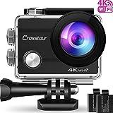 Action Kamera 4K CROSSTOUR Unterwasserkamera Wi-Fi wasserdicht Sports Cam Ultra Full HD 2' LCD 170°Ultra Weitwinkel 30M Helmkamera mit 2 Batterien und...