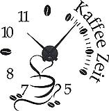 GRAZDesign Wandtattoo Uhr Küche & Esszimmer Kaffee Zeit - Wanduhr Küche Kaffeetasse - Küchenuhr für Cafes Bars Bäckerei / 58x57cm / 800465_BK_070