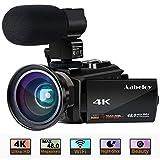 4K Camcorder, Aabeloy Vlogging Videokamera Ultra HD WiFi Digitalkamera 48.0MP 3.0-Zoll-Touchscreen Nachtsichtgerät 16X Zoom Digitaler Recorder mit Externem...