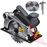 Handkreissäge, Ginour Professional Kreissäge 1500W 4700 RPM mit Laser maximale Schnitttiefe 65mm (90°) und 45mm (45°), (24T /40T) 2 Klinge zum Schneiden von...