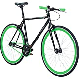 700C 28 Zoll Fixie Singlespeed Bike Galano Blade 5 Farben zur Auswahl, Rahmengrösse:56 cm, Farbe:schwarz/grün