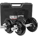 GORILLA SPORTS Koffer Kurzhantel-Set 20 kg Gusseisen mit Hantelstangen, Gewichten und Sternverschlüssen