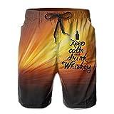 Behalten Sie Ruhe und Trinken Sie die beiläufige Badehose-Strandhose der Whisky-Männer mit Taschen L