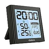 ORIA 【2019 New】 Digitaler Wecker, LCD Reisewecker mit Hygro-/Thermometer, Hintergrundbeleuchtung Nachtlicht und Schlummerfunktion, Uhr Alarm Clock Anzeige von Uhrzeit, Wochentag und Datum