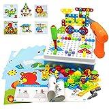 Akokie 2D/3D 223pcs Puzzle Mosaik Spiel Akkuschrauber Pädagogisch Kreativ Spielzeug Kinder Werkzeugkoffer ab 3+ Jahre für Jungen Mädchen