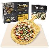Garcon Pizzastein für Backofen und Gasgrill zum Pizza Backen - 3er Set inkl. Pizzaschieber, Kochbuch und Geschenk Box