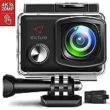 Victure Action Cam 4K 20MP WiFi Touch Screen Ultra Full HD 30 Meters Unterwasserkamera Einstellbare 170°Fischaugen-Linse EIS Sports Kamera 2×1350mAh...