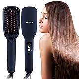 ARINO Haarglätter Bürste Ionen Keramik Glättungsbürste Elektrische Glättbürste Stylingbürste Hair Straightener Brush Kamm Glätteisen mit MCH-Technologie für Schnellaufheizung Antistatisch Verbrühschutz Schwarz
