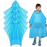 Regen Poncho–Einweg Poncho Wasserdichter Regenmantel, 4Stück für Erwachsene & Kind Familie Camping Notfall Regenmäntel, 4 Pack for Kids-Blue
