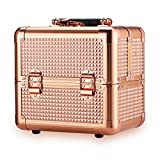 Ovonni Kosmetikkoffer Make up Koffer Multikoffer Cosmetic Beauty Case 3 Ebenen mit 4 Tabletts/9 Fächern 18x19x25cm Rotgold
