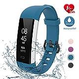 fitpolo Fitness Uhr Wasserdicht Fit Uhr mit Pulsmesser Aktivitäts-Tracker Fitness Armband, Schrittzähler Uhr, Smart Watch für Kinder Herren Damen(Dunkelblau)