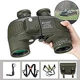 BNISE 10x50 Fernglas für Erwachsene Tierbeobachtung Safari Eingebauter Kompass und Entfernungsmesser mit Brustgurt, Militär Marine Tarnfarbe, wasserfest,...