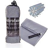 Mikrofaser Handtuch schnelltrocknend saugstark und weich – Mikrofaserhandtuch Badetuch für Urlaub, Fitness, Zelten (100x50cm) (Grau)