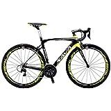 SAVADECK Carbon Rennrad, Herd 6.0 T800 Kohlefaser 700C Rennrad Shimano 105 R7000 Groupset 22 Geschwindigkeit Kohlenstoff Radsatz Sattelstütze Gabel Ultra-Licht Fahrrad (Schwarz Gelb, 54cm)