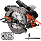 TACKLIFE 1500W 4700U Klassische Handkreissäge mit Laser, 2 Klingen (24T / 40T), Absaugadapter, Max Schnitttiefe: 90°: 63mm / 45°: 45mm, zum Scheiden von...