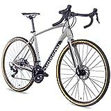 CHRISSON 28' Zoll Gravel Bike Fahrrad Gravel Road Two mit 22G Shimano 105 grau matt 52 cm