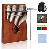 Daumenklavier Kalimba 17 Schlüssel Mahagoni Thumb Piano mit Musik Buch Musikwaage Stimmhammer Für Musikliebhaber und Anfänger