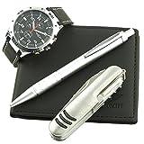 Herren-Geschenkset mit Armbanduhr, Multifunktionsmesser, Geldbörse und Kugelschreiber - Schwarz.CCP-A765-Noir-Noir.