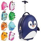 Boppi Tiny Trekker Leichter Kinderreisetrolley zum Ziehen mit Rädern in Handgepäckgröße (17 Liter Fassungsvermögen) - Pinguin Blau