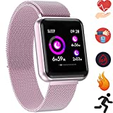 Bluetooth Smartwatch, Fitness Uhr Intelligente Armbanduhr Fitness Tracker Smart Watch Sport Uhr mit Kamera Schrittzähler Schlaftracker Romte Capture Kompatibel mit Android Smartphone (P68 Roségold)