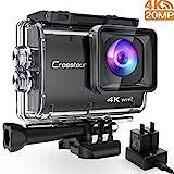 Crosstour Action Kamera 4K 20MP Wifi Unterwasser 40M Cam Anti-Shake Zeitraffer & Loop-Aufnahme Sony Sensor Plus 2 Wiederaufladbare 1350mAh Akkus USB-Ladegerät und Zubehör-Sets