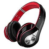 Bluetooth Overhead-Headset, Mpow On-Ear Stereo Wireless Headset Kopfhörer mit Noise Canceling, integriertem Mikrofon Freisprechen,13 Stunden für Smartphones, PC und Laptops usw. (Schwarz & Rot)