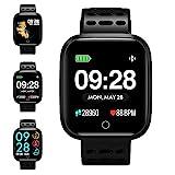 KUNGIX Smartwatch, Fitness Armband Trackers Wasserdicht Uhr Mit Pulsmesser Smart Watch Armbanduhr für Damen Herren Kinder Android iOS Mit Schrittzähler...