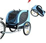 PawHut Hundeanhänger Fahrradanhänger Hunde Fahrrad Anhänger Blau/Schwarz NEU