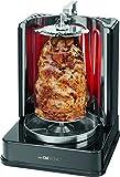 Clatronic DVG 3686 3in1 Döner-/Hähnchen und Schaschlik-Vertikal-Multigrill, perfekte Grillergebnisse durch gleichmäßige Hitzeverteilung, Edelstahl-Fettauffangbehälter, 1400 Watt, Schwarz