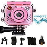 LHJCN Kinderkamera, Digitalkamera Kids, Action Cam Kinder, Fotoapparat, Unterwasseraufnahmen, Wasserdicht, HD Action Cam Children, Pink