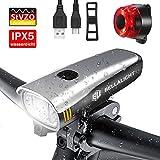 BELLALICHT LED Fahrradlicht Set, StVZO Zugelassen USB Wiederaufladbare Fahrradbeleuchtung fahrradlichter Set, CREE LED/Samsung Li-ion Batterie Laufzeit 6...