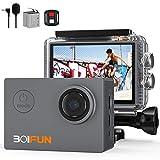BOIFUN 4K 20MP Action Cam EIS Bildstabilisierte Wi-Fi mit Externem Mikrofon Unterwasserkamera Sport Helmkamera Wasserdicht bis 40 Meter Fernsteuerung und 20...