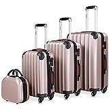 Set mit 4 Hartschalenkoffer M/L/XL und Kosmetikkoffer Rose-Gold ABS Hartschale Kofferset Reisekoffer Anti-Rutsch-Füße 2 Tragegriffe 4 Rollen teilbar