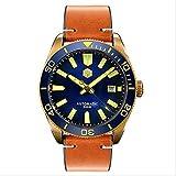WDXDP Uhr Herren Automatikuhr Vintage Bronze Taucheruhr 300 Wasserdicht Keramik Lünette Retro Armbanduhr HerrenuhrenGold Sekundenzeiger