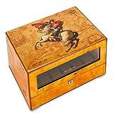 LOKKG Uhrenbeweger für Automatikuhren, Wood Shell Piano Paint Exterieur und extrem leiser Motor, Uhr Display Aufbewahrungsbox mit Schlüssel, Napoleon-Muster