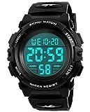 Kinder Digital Uhren für Jungen - Wasserdichte Sport Armbanduhr mit Wecker/Timer, schwarz Kinder Outdoor Elektronische Sport Digital Uhren für teenages Jungen Kinderuhren von UEOTO