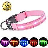 MASBRILL Leuchthalsband für Hunde Aufladbar LED Hundehalsband 100% Wasserdicht Blinkende Lichter mit USB (M, 50cm, Pink)