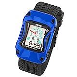 Taffstyle Kinder Armbanduhr Silikon Sportuhr Bunte Uhr Stoppuhr Auto Motiv mit Alarm Digital Quartz Blau